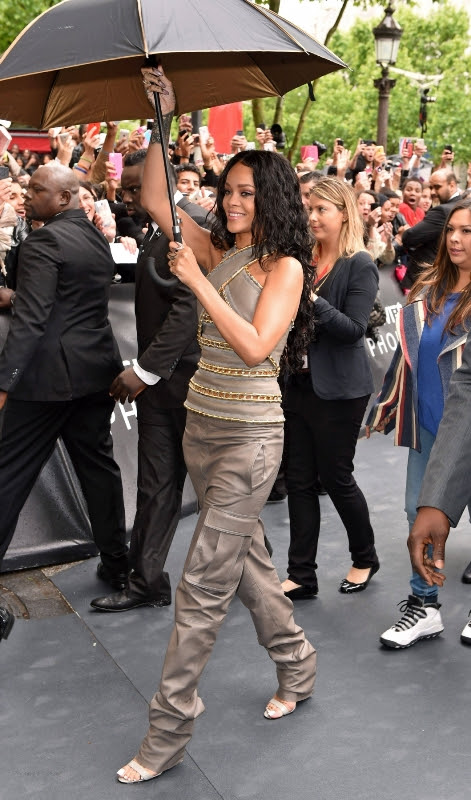 rihanna-rogue-perfume-paris-launch-balmain-fall-2014-leather-chain-link-halter-top-silk-cargo-trousers
