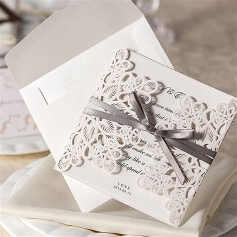 Ivory Laser Cut Wedding Invitations Elegant, Gray Ribbon