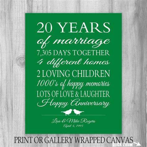 20th Anniversary Gift 20 Year Anniversary Gift Canvas