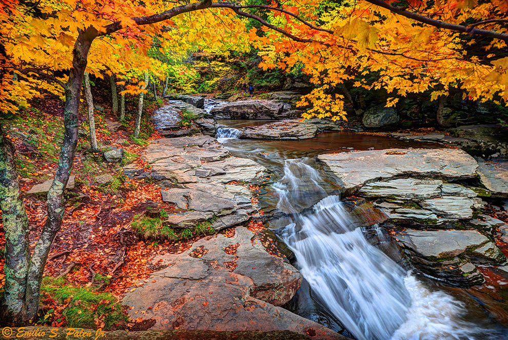 Autumn in New York, Kaaterskill Creek, Catskill Region fall foliage in New York