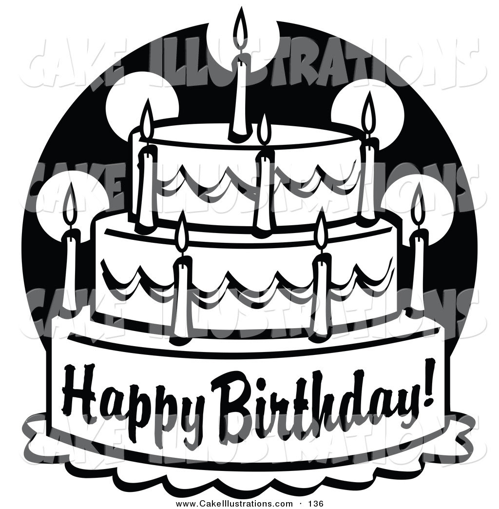 29354 Birthday Cake Clip Art Black And White Free Public