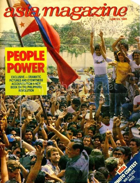 Cover of Asia Magazine featuring People Power revolution, 1986