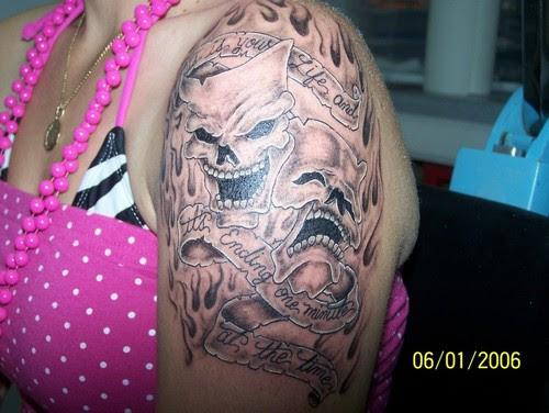 Happy Sad Clown Tattoo On Shoulder For Girls