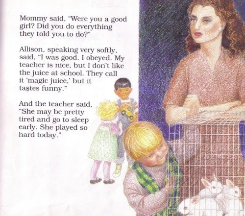 """This vignette refers to a """"magic juice"""" given by the teacher which implies that children are being drugged at the daycare. The image depicts white rabbits in a cage which represent the children themselves. Also, these rabbits might be used to show children what would happen if they break the """"circle of trust"""". In other words, they probably hurt the rabbits in front of the children."""