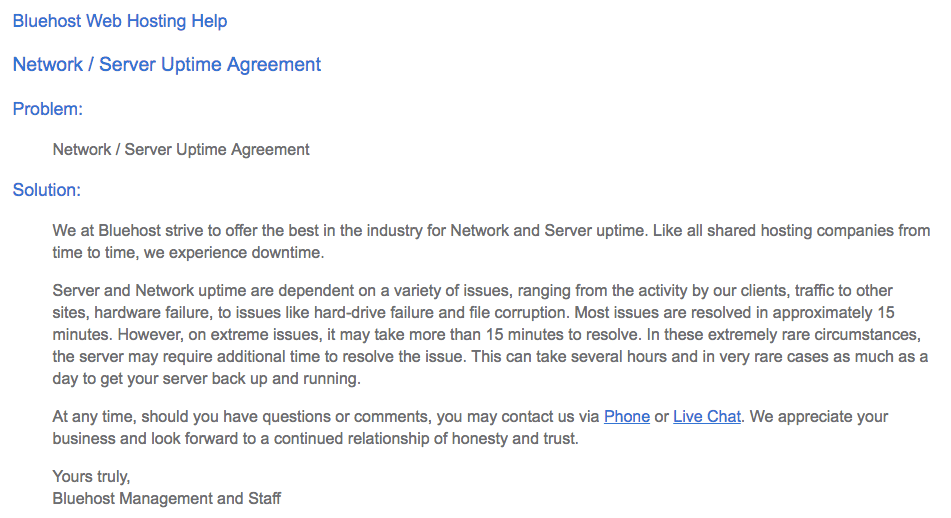 Bluehost uptime agreement text