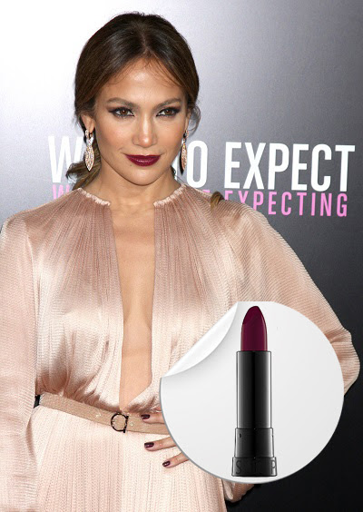 Jennifer Lopez wearing purple lipstick