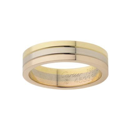 Trinity Wedding Band: 3 golds, White:Friendship  Pink