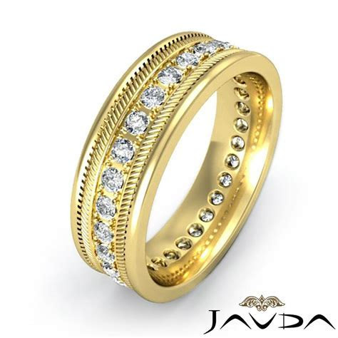 Mens Solid Ring Eternity Wedding 14k Yellow Gold Round