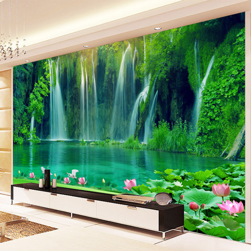 Chinese Style Waterfall Running Water D Stereo Mural Wallpaper Living Room Tv Backdrop Wall