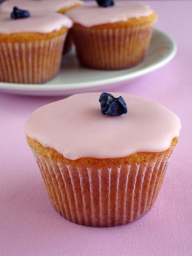 Pink cupcakes with crystallized violets
