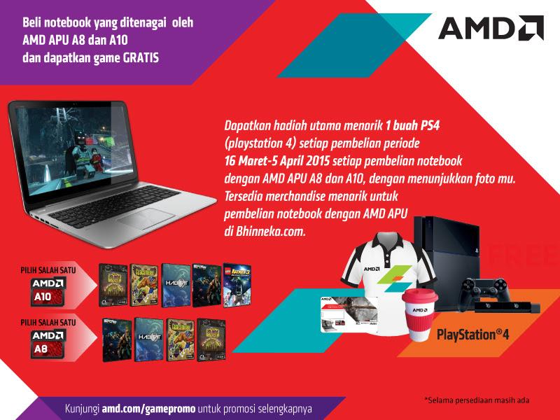 Bawa Pulang PlayStation 4 dan Merchandise Menarik Dengan Beli Notebook AMD APU A8 & A10 di Bhinneka.Com!
