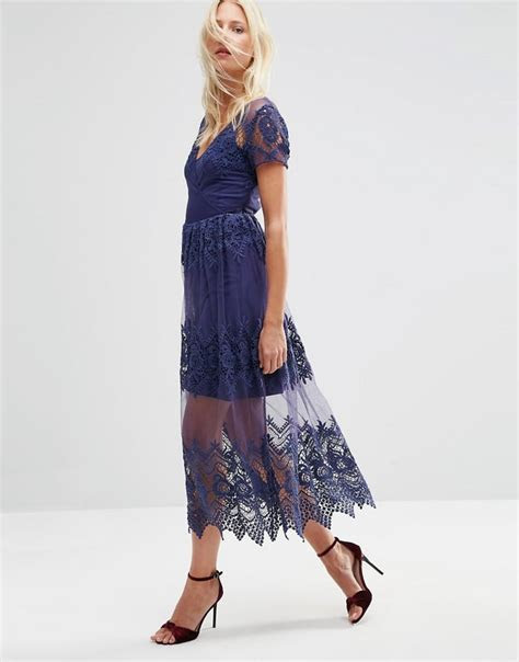 ASOS Embroidered Mesh and Lace Midi Dress ($113)   Best