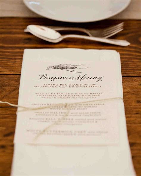 Best Wedding Menu Cards From Real Celebrations   Martha