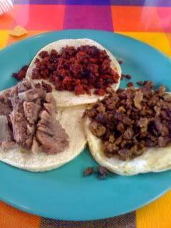 Tacos Ensenada chorizo, carne asada and lengua tacos
