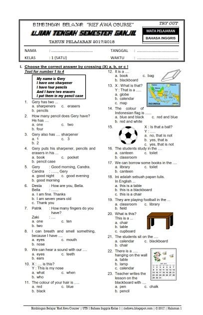 Kumpulan Soal Bahasa Inggris Sd Kelas 1 6 Dan…