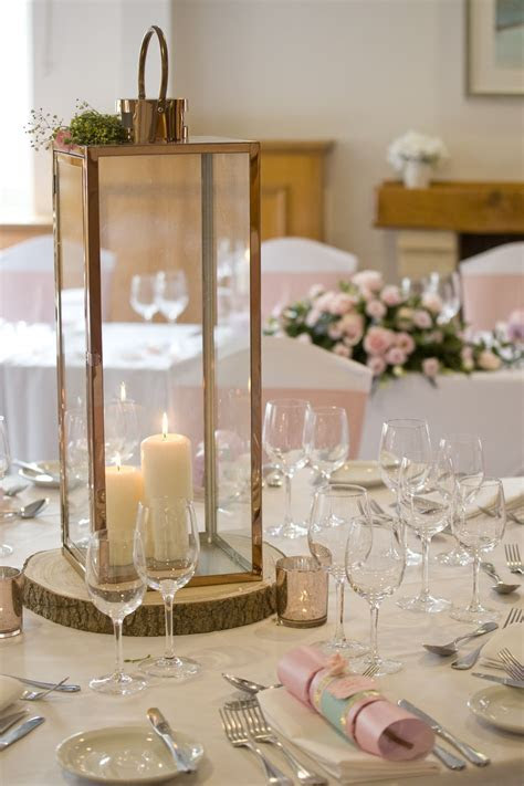 Rose gold lantern for wedding decor and event hire in