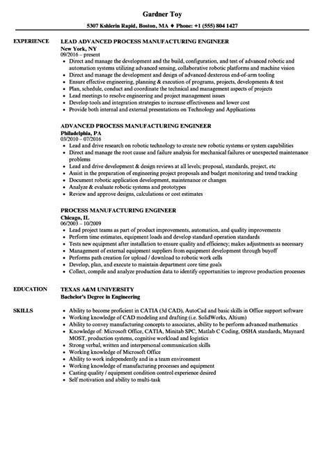 Process Manufacturing Engineer Resume Samples | Velvet Jobs