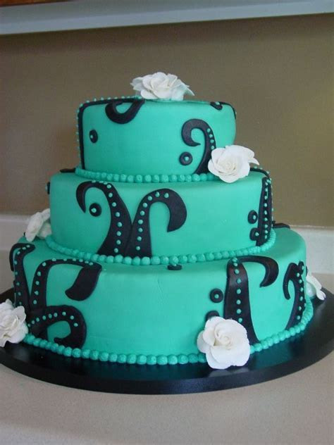 Teal Wedding Cakes With Ribbon Decoration   Food and Drink