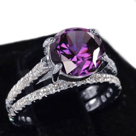 White Gold Amethyst Wedding Engagement Eternity Sterling