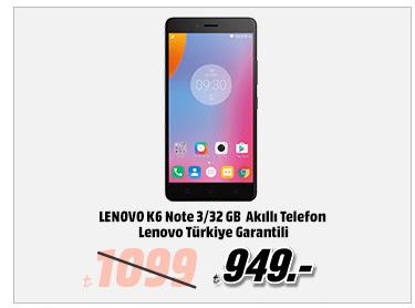 LENOVO K6 Note 3/32 GB Gri Akıllı Telefon Lenovo Türkiye Garantili 949TL