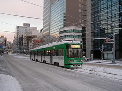 A tram running through the snow in Hiroshima
