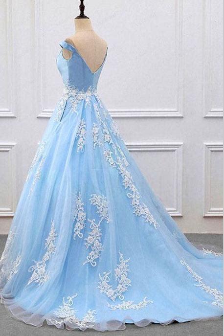 Sky Blue V neck A Line Lace Appliques Tulle Prom Dresses