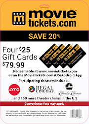 Movietickets.com, 4-$25 Gift Cards
