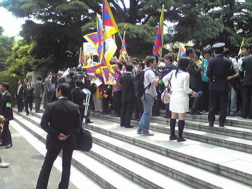 Students' protests during Hu Jintao's Waseda University visit 4