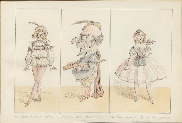 Pantomime as it was is and will be by Alfred Crowquill (aka Alfred H Forrester) - 1849 - (The peasant lover appears...) - courtesy Harvard U