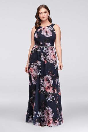 Floral Plus Size Halter Dress with Beaded Belt   David's