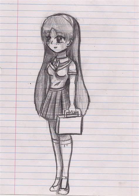 anime sketched school girl  ninjazombie  deviantart