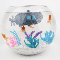 A 3doodled submarine makes for some very appropriate fishbowl decor. Image courtesy of WobbleWorks, Inc.