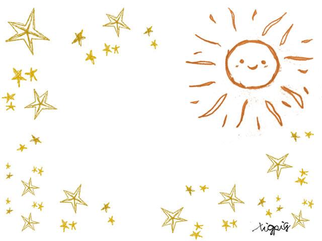 フリー素材大人可愛いオレンジの太陽とレトロな星の飾り枠フレーム640