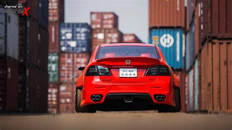 modified red honda civic  break hyper wide modifiedx