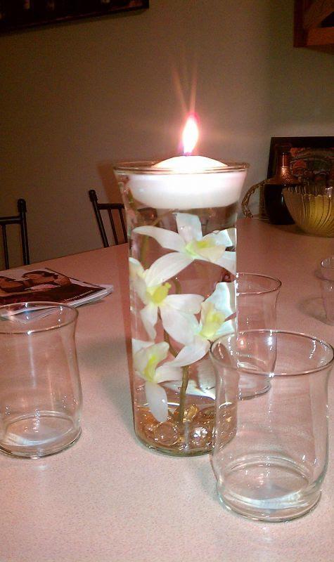 CENTERPIECE TRIAL 1 wedding submerged flower centerpiece teal white