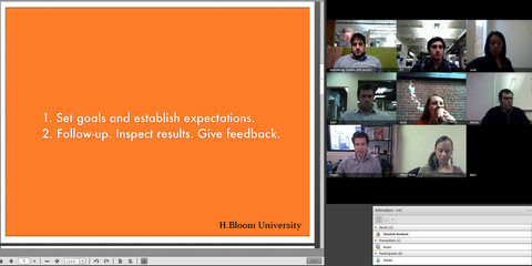 An H.Bloom University video conference.