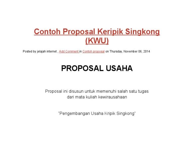 Contoh Proposal Kewirausahaan Kripik Pisang / Kumpulan ...