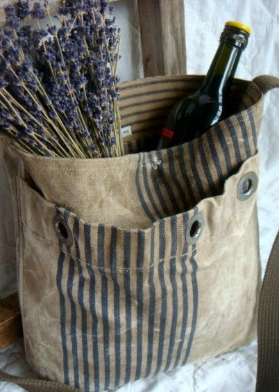 repurposed vintage mail bag - messenger tote bag