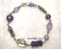 Wire wrapped bracelet - purple themed