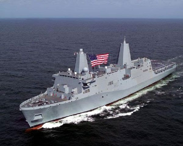 The USS NEW YORK being tested at sea.