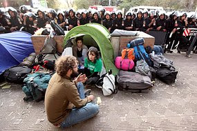 Foreign activists staged a sit-in to protest against Egypt's stance.