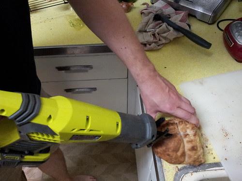 Power Sawing Stale Sourdough Bread