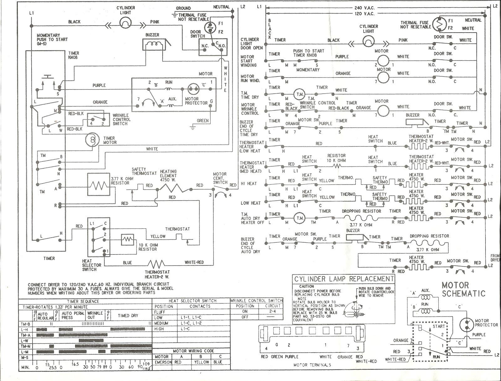 Appliance Talk Kenmore Series Electric Dryer Wiring Diagram Schematic