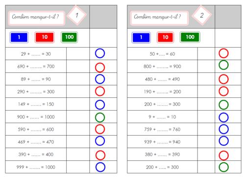 Carte multichoix : complément à la dizaine et complément à la centaine