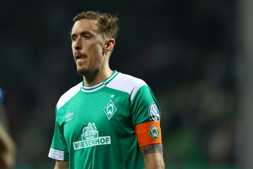 BREMEN, GERMANY - APRIL 24: Max Kruse of Werder Bremen reacts after the DFB Cup semi final match between Werder Bremen and FC Bayern Muenchen at Weserstadion on April 24, 2019 in Bremen, Germany. (Photo by Martin Rose/Bongarts/Getty Images)
