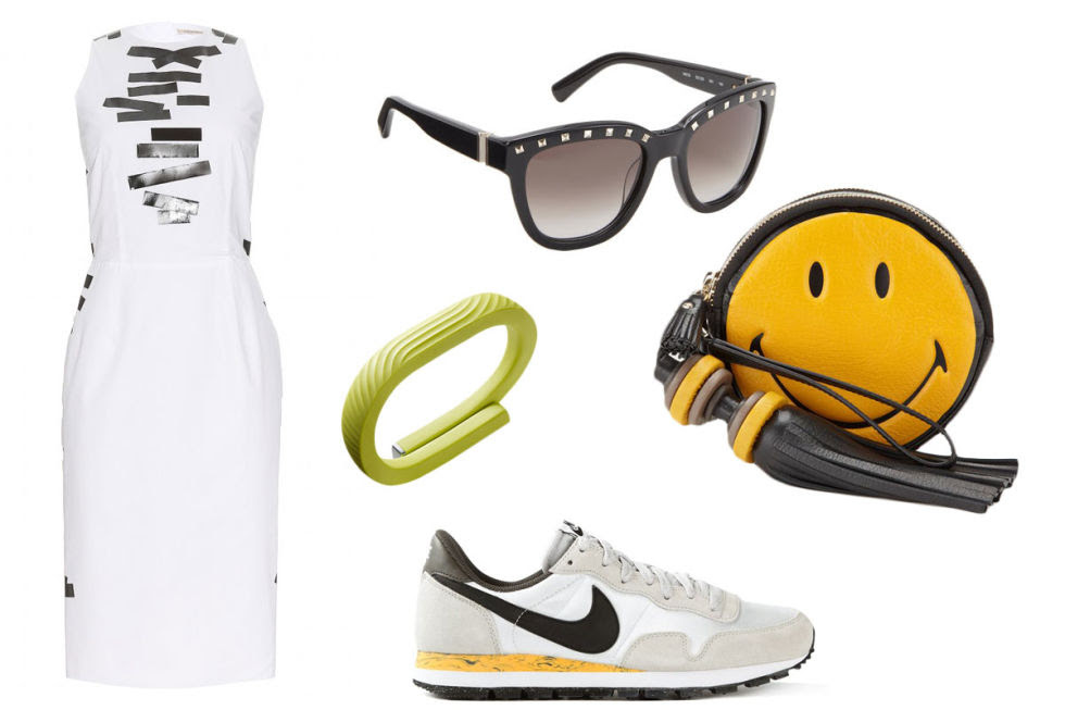Christopher Kane Taped Cotton Shift Dress, $474; mytheresa.com Nike 'Air Pegasus 83' Trainers, $114; farfetch.com    Smiley Hadlow Clutch, $1,056; anyahindmarch.com    Valentino Studded Sunglasses, $346; barneys.com    Jawbone UP 24, $130; jawbone.com