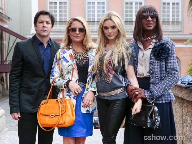 De volta ao Brasil! Jonas Marra, a esposa Pamela, a filha Megan e a amiga da família Dorothy Benson (Foto: Geração Brasil / TV Globo)