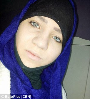 Sabina is pictured in a tight headscarf, betraying no sign of hair