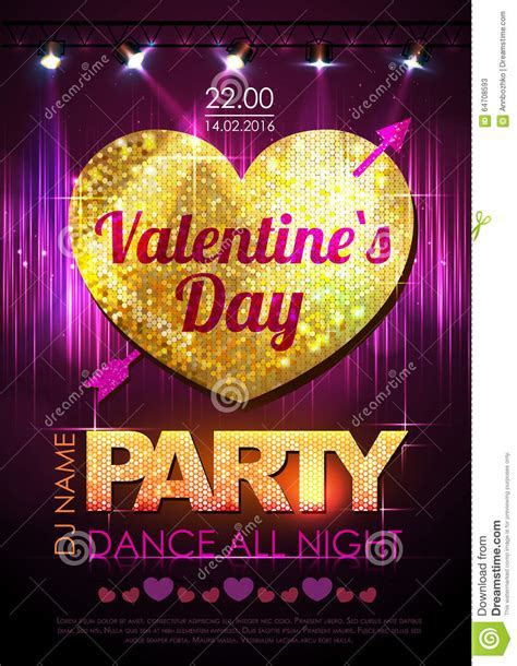 Love Heart Background. Valentine Disco Party Stock Vector