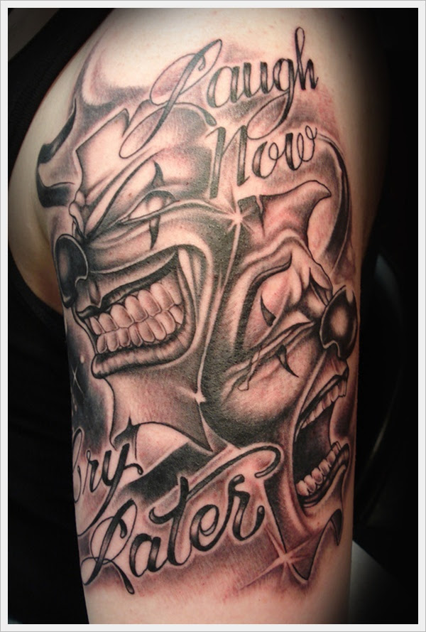 Laugh Now Cry Later Clown Tattoo On Half Sleeve